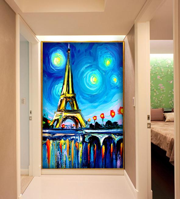 Decorative Picture Art Tempered Building Pattern Paint Glass Door Window Art Decorative