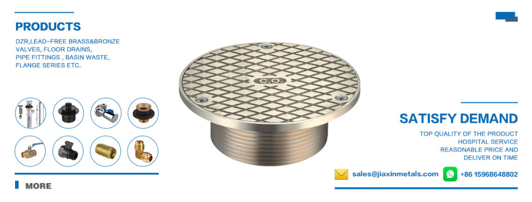 Brass Square Shower Drain with Chrome Plated Surface