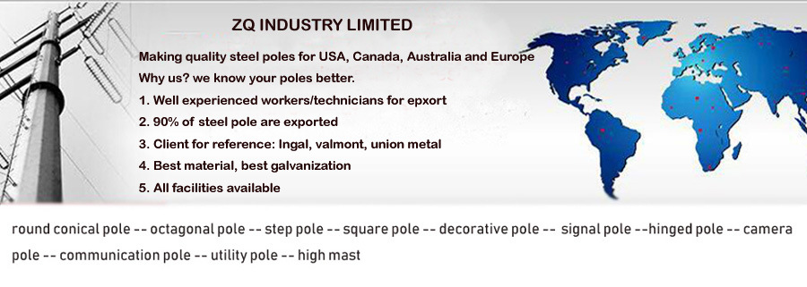 Light Pole: Tapered Round/ Octagonal Pole Hinged Pole, Impact Absorbing Pole, Utility Pole and So on