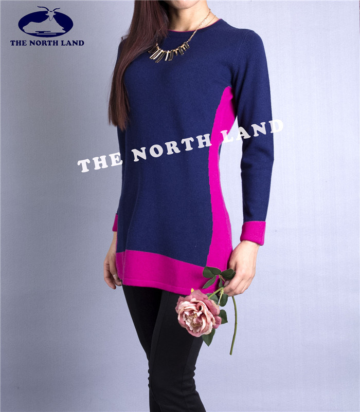 Women's Cashmere Pullover with Intarsia Csw15082103