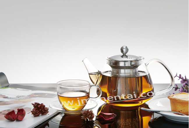 Promotional Tea Maker Colored Glass Teapot with Infuser Plastic/Stainless Steel