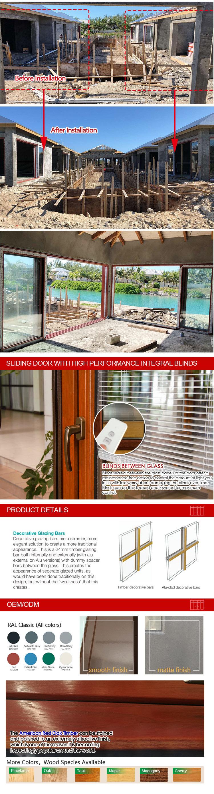 Customized Size Aluminum Clad Solid Wood Gliding Window, Aluminum Wood Sliding Frame Window by Wooden Aluminium Window Company