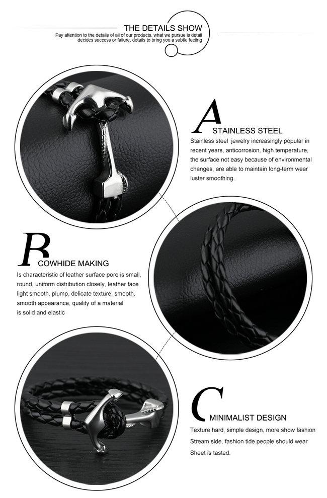 Jewelry Fashion Leather Bracelet Leather Jewelry (LB613)