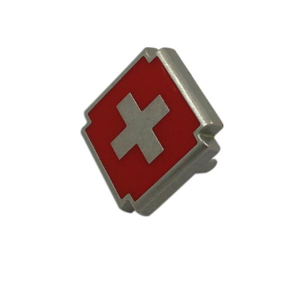 Red Cross Design Custom Metal Logo Plate for Handbags
