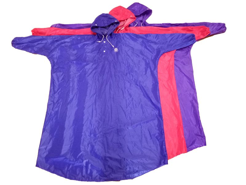 Adult's Polyester/PVC Waterproof & Windproof Rain Poncho with Hood