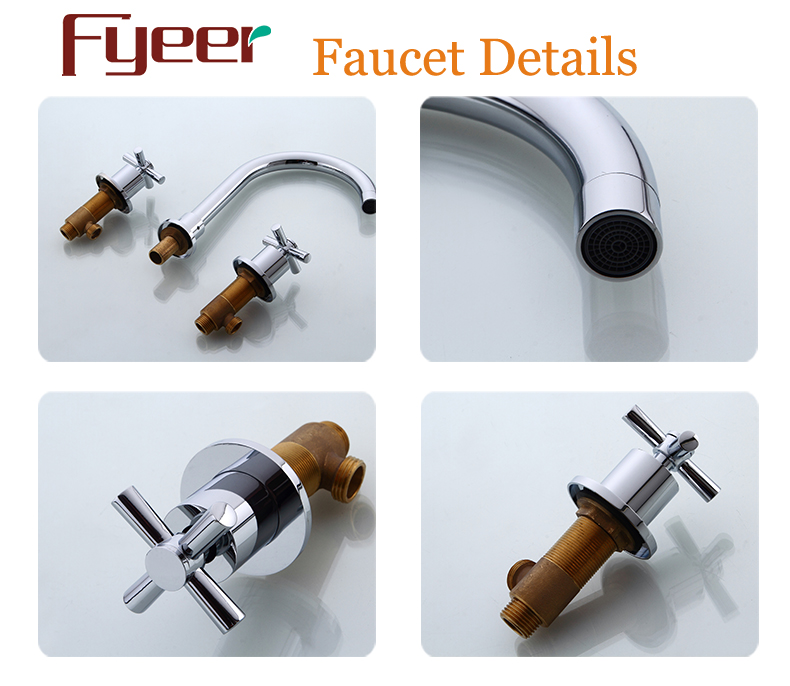 Fyeer Goose Neck 3 Hole Bathroom Widespread Basin Faucet
