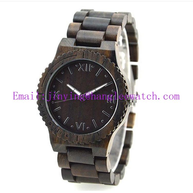 OEM Calendar Zebra Wooden Watch Pure Natural Wooden Watch