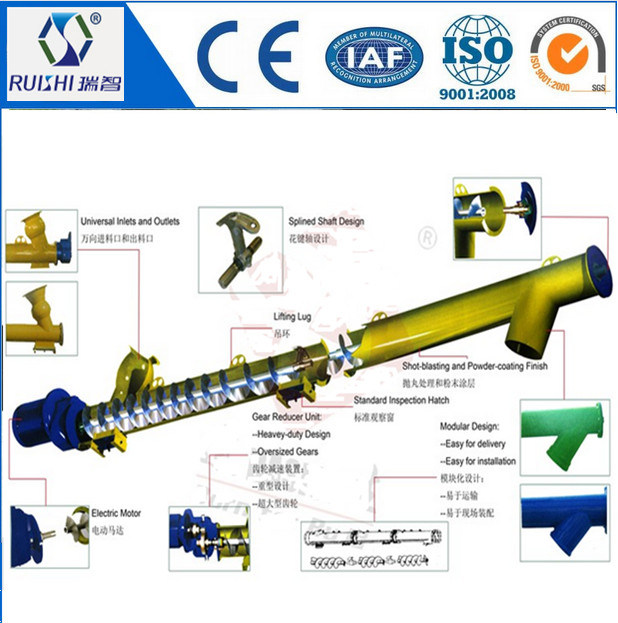 Inclined Lifting Screw Conveyor for Soya Fish Meal/Beer Yeast/Spice Powder