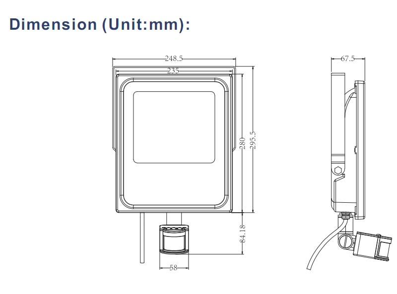 3 Warranty Years Ultra-Slim COB 50W PIR Sensor LED New Camping Lights