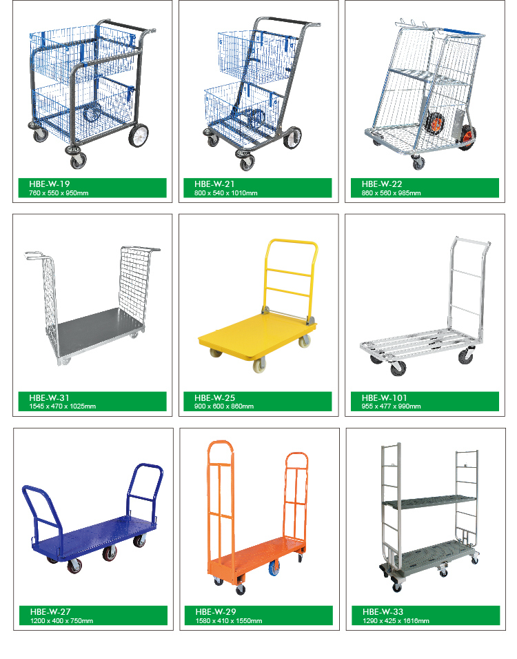 Highbright 2 Tiers Folding Building Materials Store Heavy Duty Warehouse Trolley