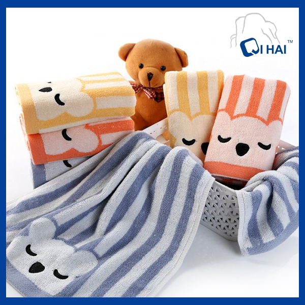 100% Cotton Yarn Dyed Litter Bear Face Towel Supplier