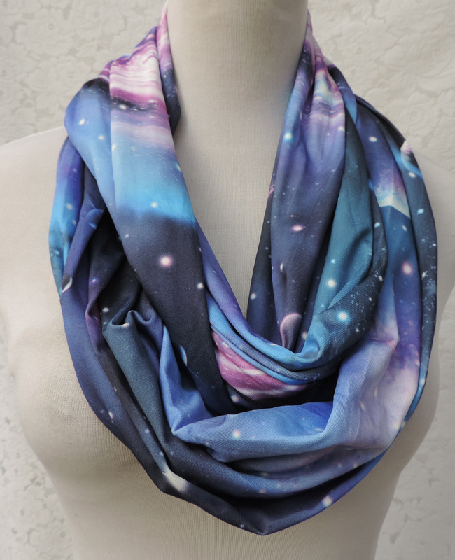Women's Stary Night Outer Space Printing Super Soft Woven Scaf Loop Snood (SW134)