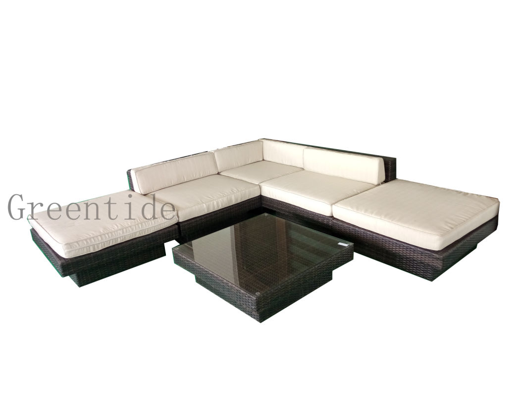 Outdoor Garden Furniture PE Rattan Wicker Sofa Set Patio Corner Design