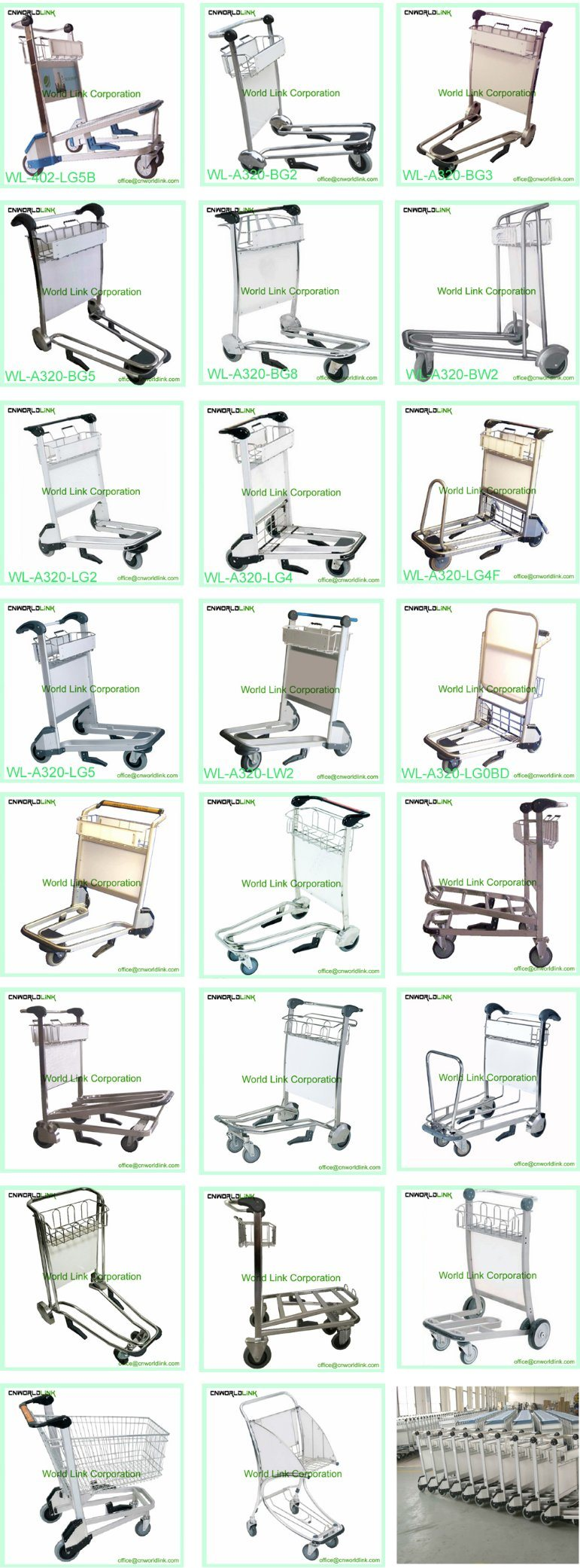 Stainless Steel Airport Nested Luggage Hand Cart