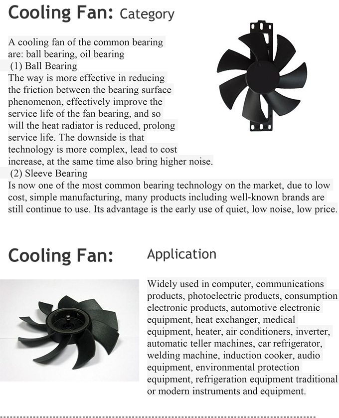 High Quality Axial Flow Radiator Cooling Fan 220 Volt