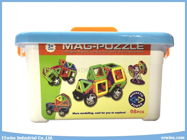 98PCS Mag Building Blocks Toys Magnetic Puzzle Toys Wisdom DIY Toys with Wheels Educational Toys for Children