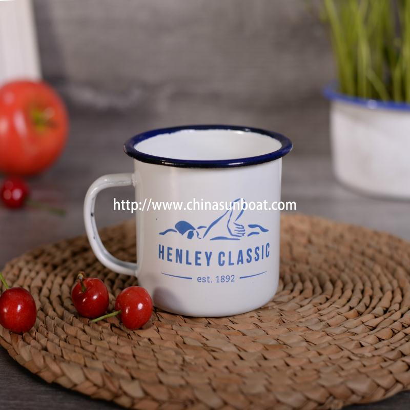 New Design Sunboat Enamel Mug High Quality Printed Kitchenware