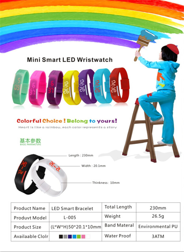 Men Womens New Fashion Silicone Red LED Sport Bracelet Touch Digital Wrist Watch (DC-1102)