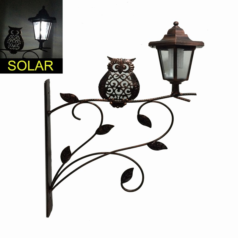 Multifunction Metal Owl Garden Wall Decoration with Solar Light