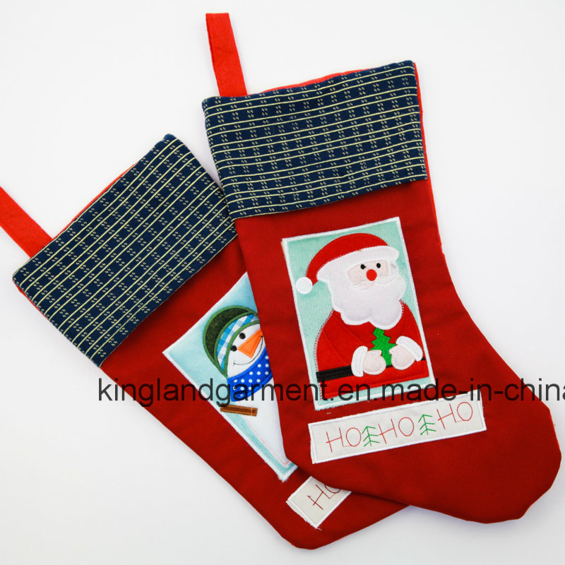 Quality Embroidery/Applique Christmas Decoration Santa in Window Stocking