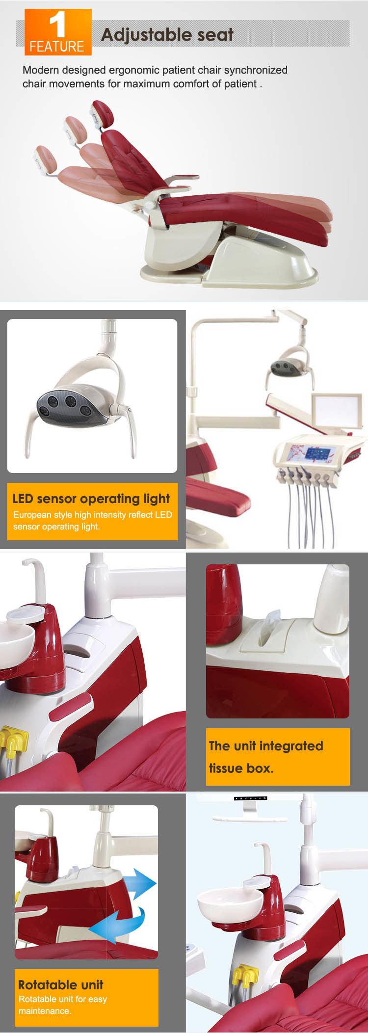 Brown FDA Approved Dental Chair Dental Operatory/Dental Product Companies/Confident Dental Chair