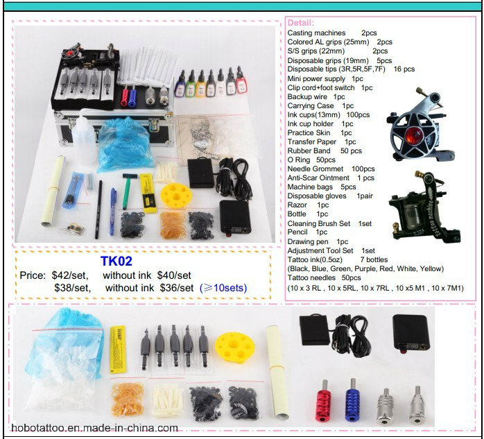 Cheap Overall Tattoo Kits with Two Machines Power Supply 26 Piece a Set