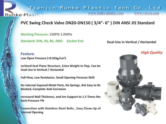 Full Bore PVC Swing Check Valve DIN ANSI JIS Standard