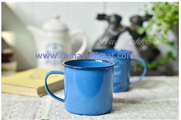 Sunboat Enamel Mug Coffee/Milk/Tea Enamel Mug Drink Cup Tableware/ Kitchenware/ Kitchen Appliance