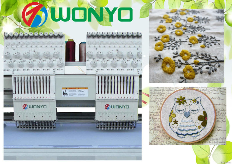Wyonyo Industrial Two Heads Cap T-Shirt Mixed Computerized Embroidery Machine