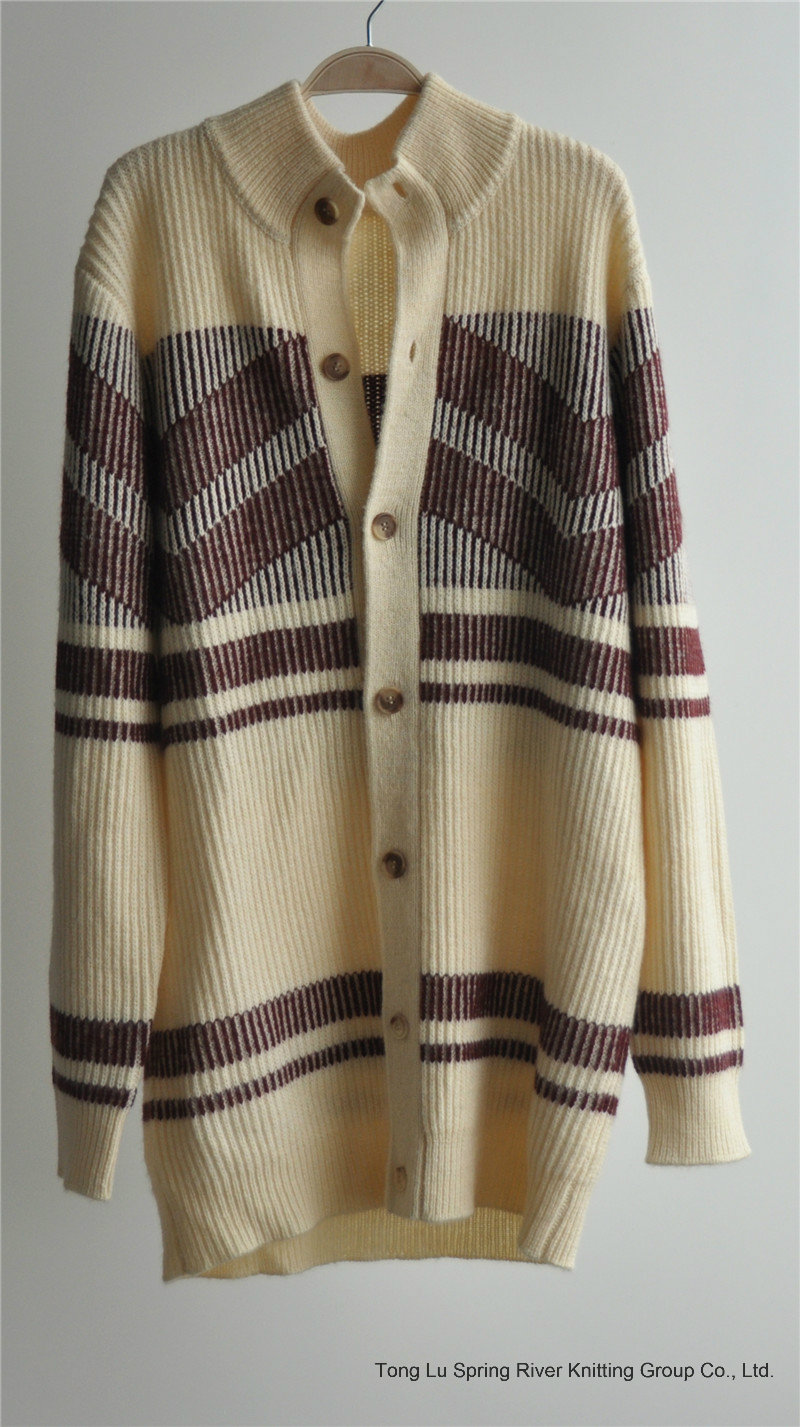 Winter Patterned Knitted Men Cardigan with Button