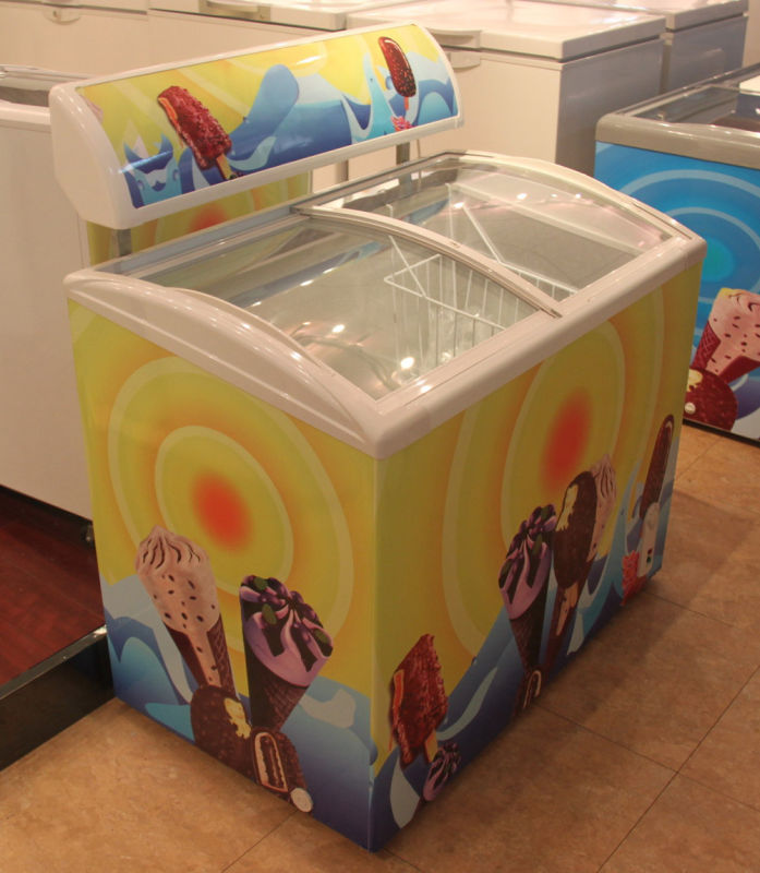 138L/226L/286L/298/378/538L Curved Glass Door Ice Cream Chest Freezer