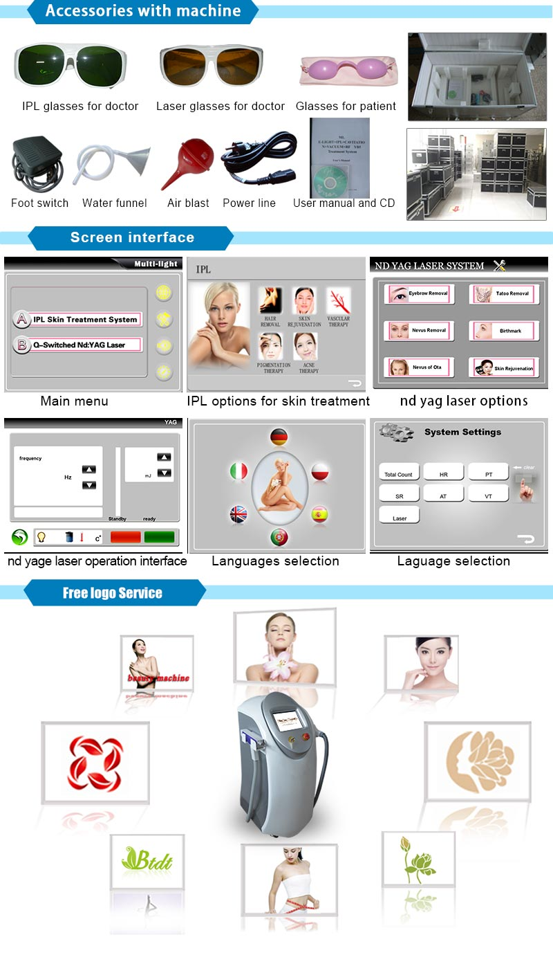 Wrinkle Removal IPL + Chloasma Removal ND YAG Laser System