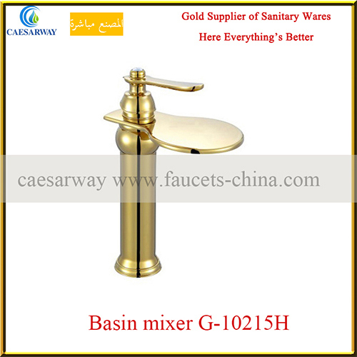 Single Handle Golden Basin Tap Faucet for Bathroom