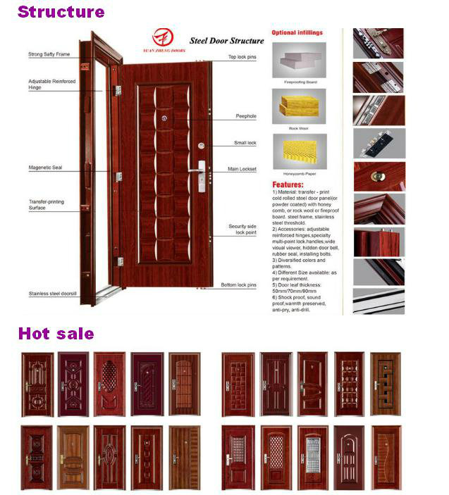 China Manufacturer Wooden Color Economical Iron Door