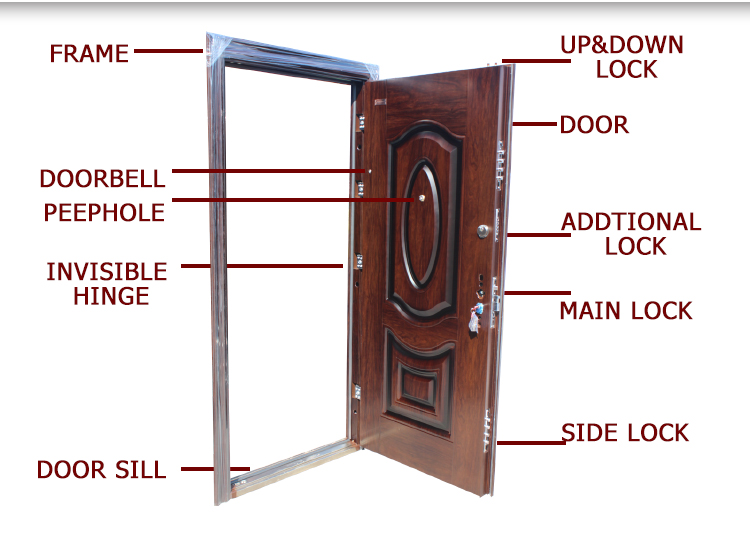 TPS-039b Wood Color Home Security Metal Main Door Model