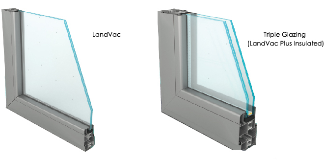 Landvac China Luoyang Colored Triple Glazing Vacuum Glass for Commercial Glass Door