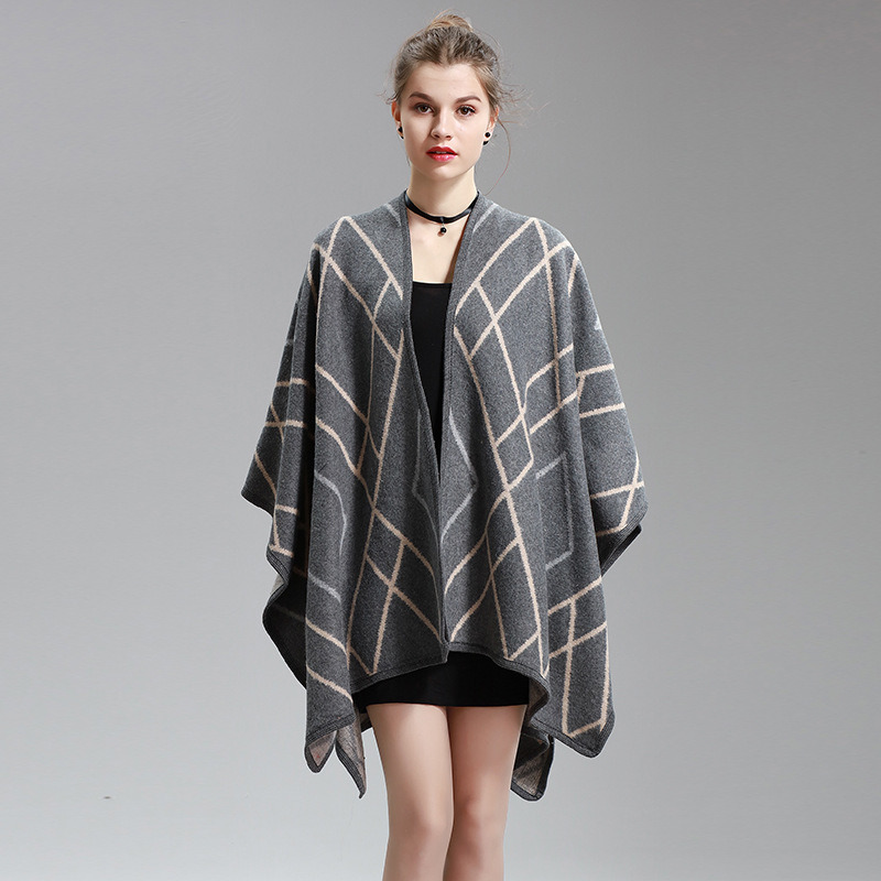 Womens Cashmere Feel Checked Diamond Printing Fancy Cape Stole Poncho Shawl (SP290)