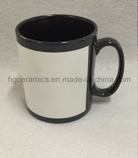 Black Mug with White Panel, Sublimation Black Mug