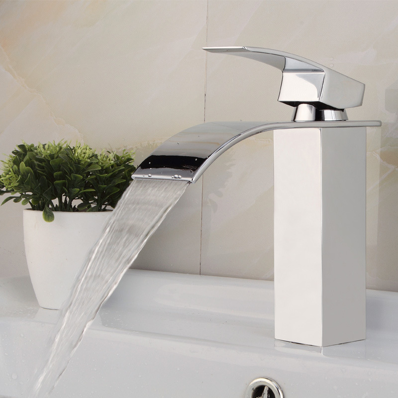 Glass Waterfall LED Lavabo Basin Sink Mixer Faucet