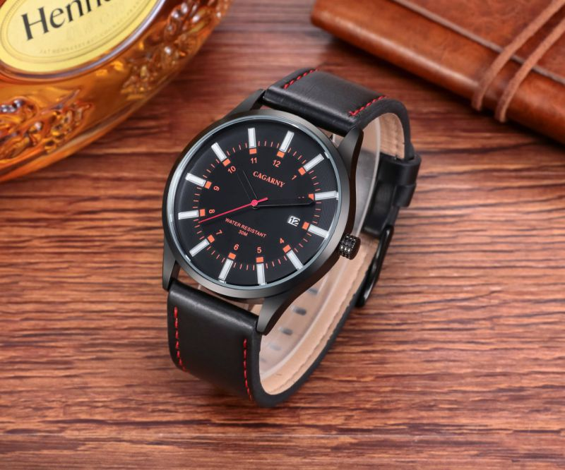 fashion Unisex Wristwatch Black IP Plated Case Leather Strap