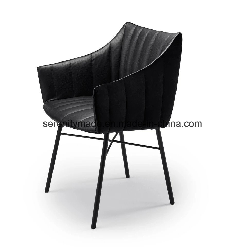 Black Metal Legs Upholstered Fabric Pub Restaurant Dining Chairs