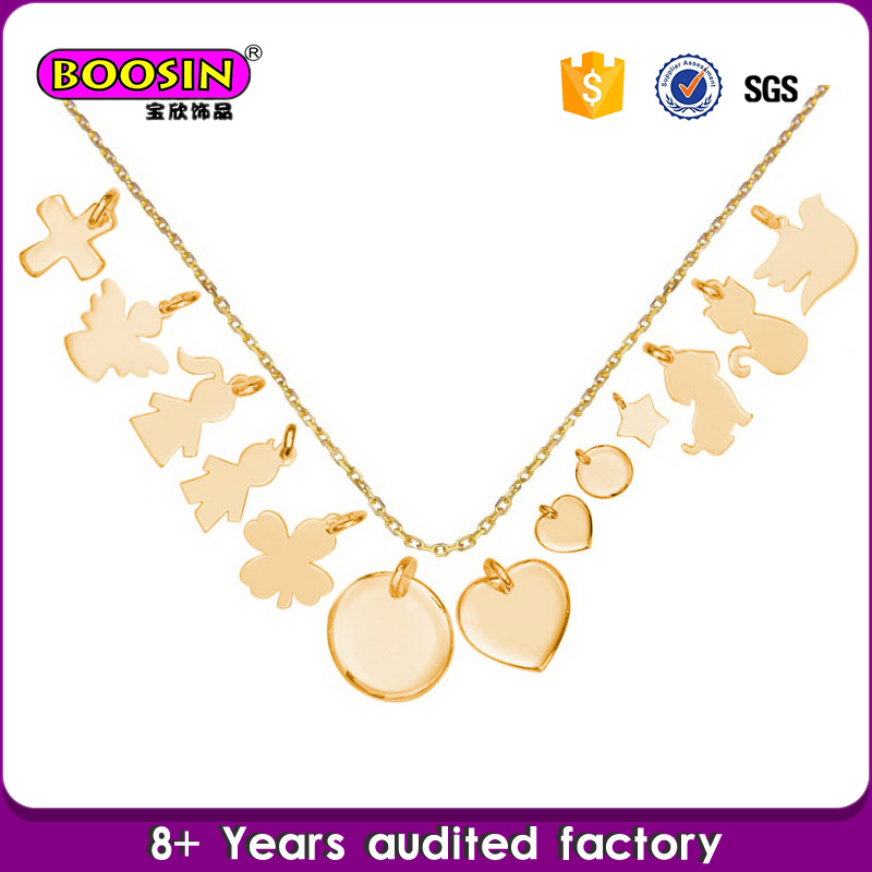 Custom High Quality 18k Gold Zinc Alloy Necklace Logo Tags Necklace