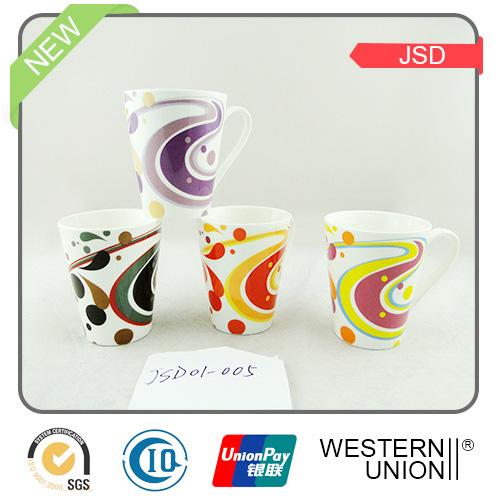 V Shape Porcelain Design Tea Mugs for Promotional
