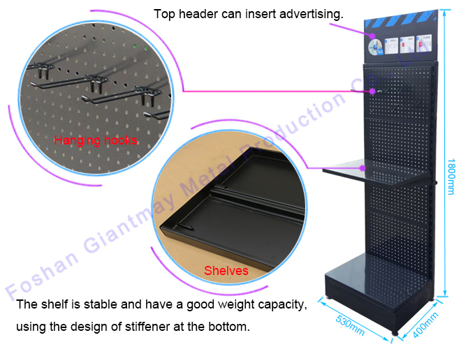 Retail Store Supermarket Black Powder Coated Display Powerful Products Pegboard Shelving Exhibitor Pop Display Shop Stand