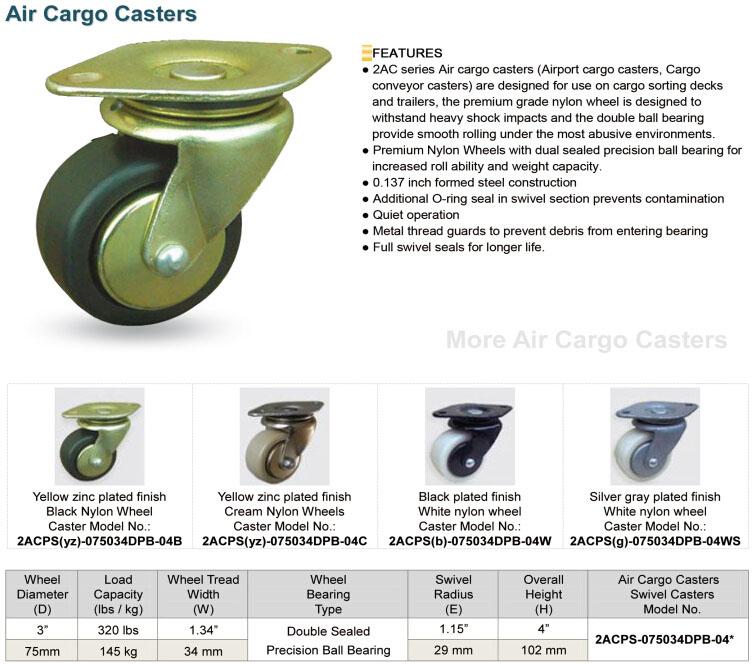 3 Inch Air Cargo Caster for Cargo Conveyor Equipment