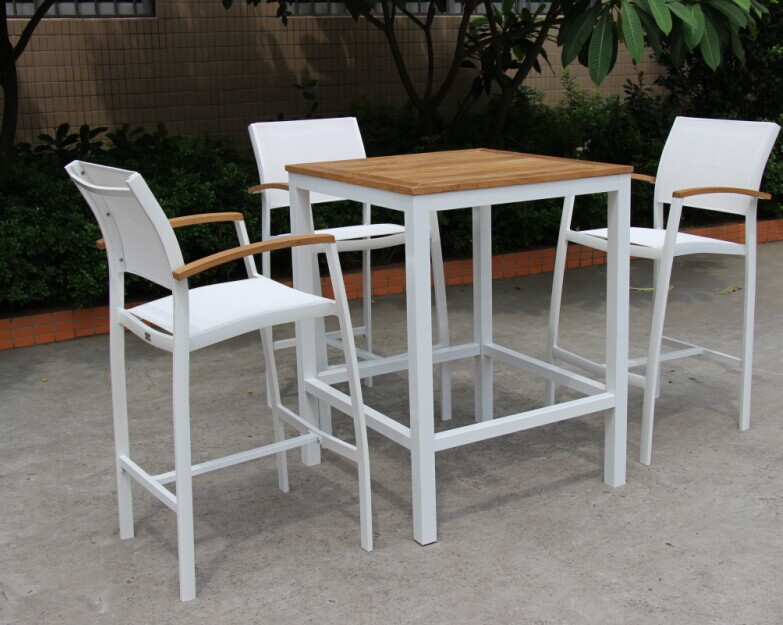 Modern Outdoor Patio Barstool/Chair with Batyline Mesh Sling Textilene Hotel Bistro Cafe Deck