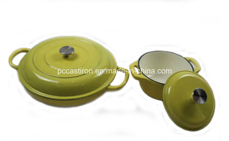 2PCS Enamel Cast Iron Cookware Set