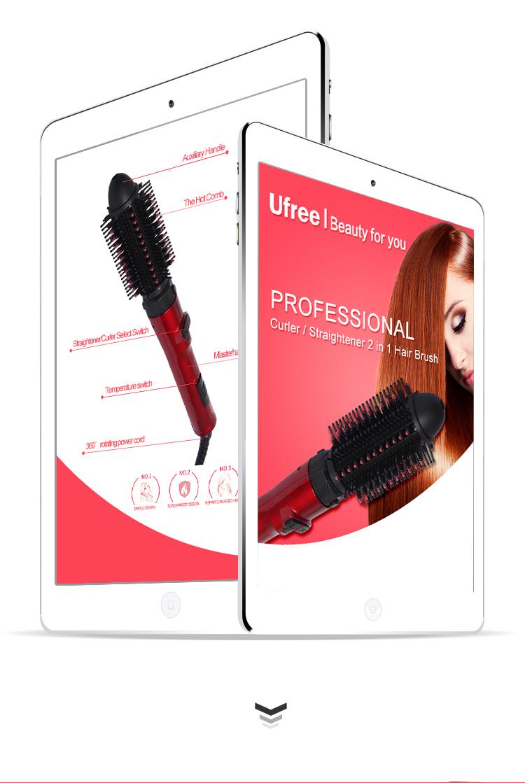 New Design Multifunctional Hair Curler Profession Hair Straightener with Brush