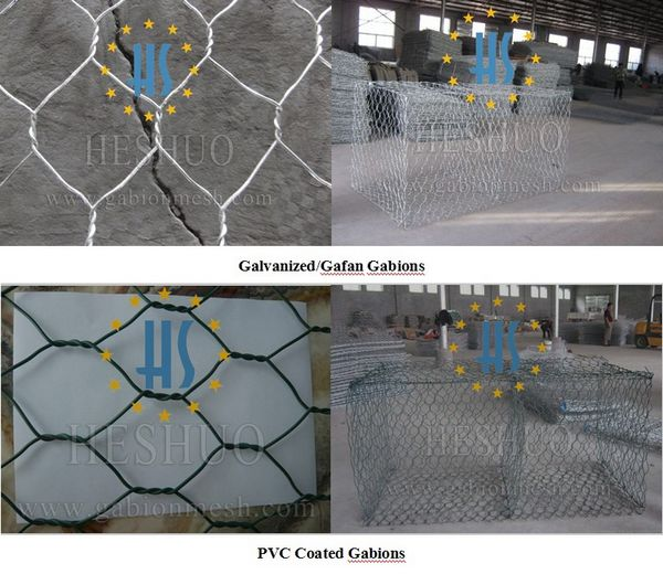 6by2by0.3m 60by80mm Triple Twist Galvanized Gabion Mattress