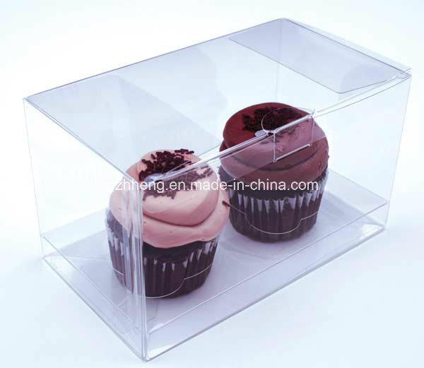 Custom Folding Crytal Plastic Box for Cake (PET container)